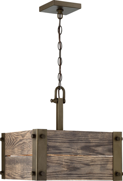 Nuvo Lighting 60/6423 Winchester 4 Light Square Pendant with Aged Wood