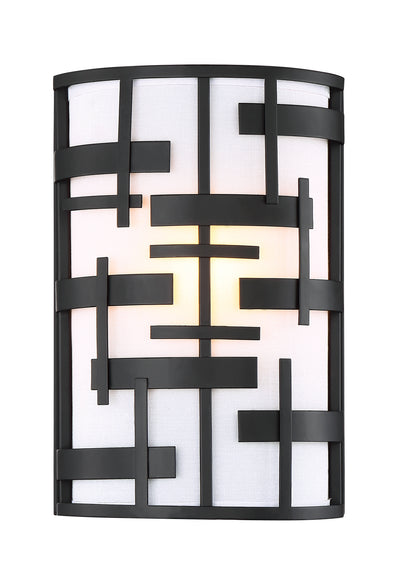 Nuvo Lighting 60/6431 Lansing 2 Light Wall Mount Sconce Sconce with White Fabric Shade