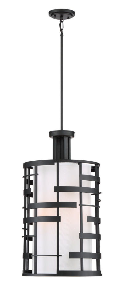 Nuvo Lighting 60/6433 Lansing 4 Light Pendant with White Fabric Shade and Opal Diffuser