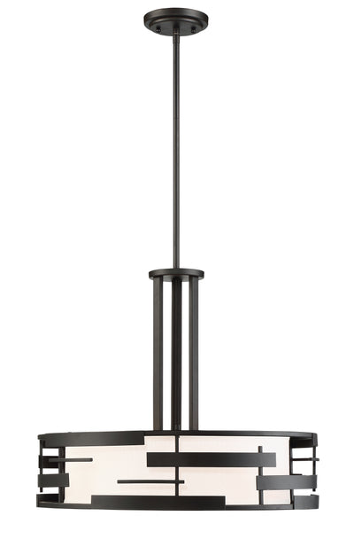 Nuvo Lighting 60/6435 Lansing 3 Light Pendant with White Fabric Shade and Opal Diffuser