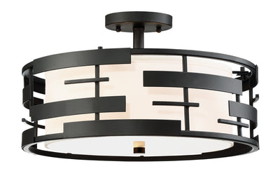Nuvo Lighting 60/6436 Lansing 3 Light Semi Flush with White Fabric Shade and Opal Diffuser