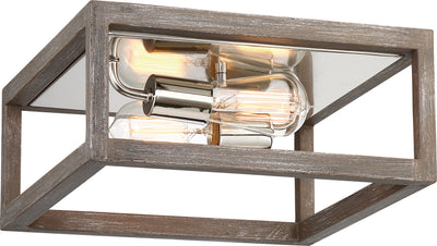 Nuvo Lighting 60/6482 Bliss 2 Light Flush Mount Driftwood Finish with Polished Nickel Accents