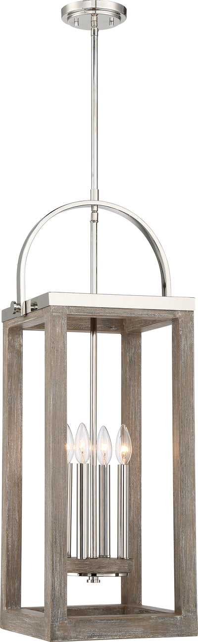 Nuvo Lighting 60/6483 Bliss 4 Light Pendant Driftwood Finish with Polished Nickel Accents