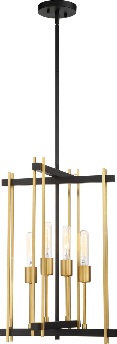 Nuvo Lighting 60/6525 Marion 4 Light Pendant Aged Bronze Finish with Natural Brass Accents