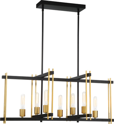 Nuvo Lighting 60/6526 Marion 7 Light Island Pendant Aged Bronze Finish with Natural Brass Accents