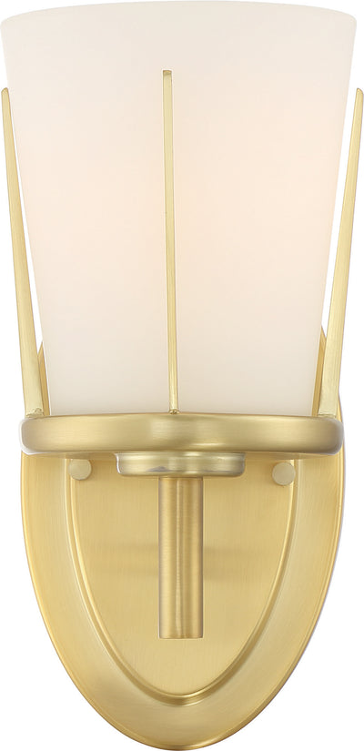 Nuvo Lighting 60/6531 Serene 1 Light Wall Mount Sconce Sconce Natural Brass Finish with Satin White Glass