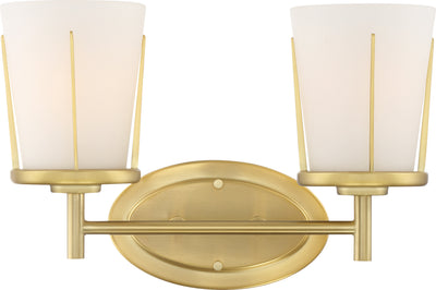 Nuvo Lighting 60/6532 Serene 2 Light Vanity Natural Brass Finish with Satin White Glass