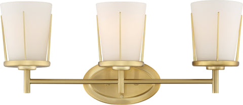 Nuvo Lighting 60/6533 Serene 3 Light Vanity Natural Brass Finish with Satin White Glass