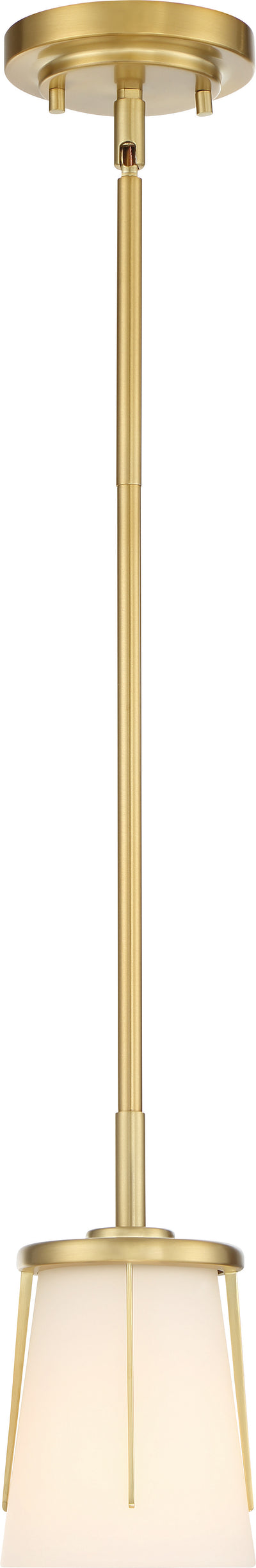 Nuvo Lighting 60/6535 Serene 1 Light Mini Pendant Natural Brass Finish with Satin White Glass