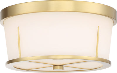 Nuvo Lighting 60/6537 Serene 2 Light Flush Mount Natural Brass Finish with Satin White Glass