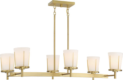 Nuvo Lighting 60/6538 Serene 6 Light Island Pendant Natural Brass Finish with Satin White Glass