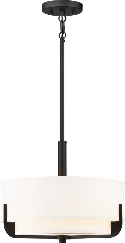 Nuvo Lighting 60/6543 Frankie 3 Light 14 Inch Pendant Aged Bronze Finish with White Glass