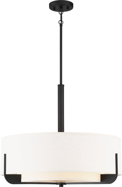 Nuvo Lighting 60/6544 Frankie 4 Light 24 Inch Pendant Aged Bronze Finish with White Glass
