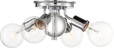 Nuvo Lighting 60/6564 Bounce 4 Light Flush Mount Polished Nickel Finish with K9 Crystal