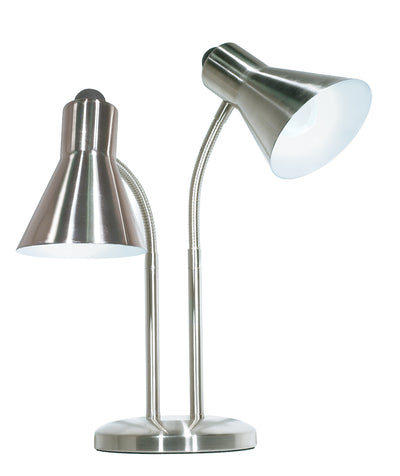 Nuvo Lighting 60/806 Gooseneck Desk Lamp 2 Light Brushed Nickel