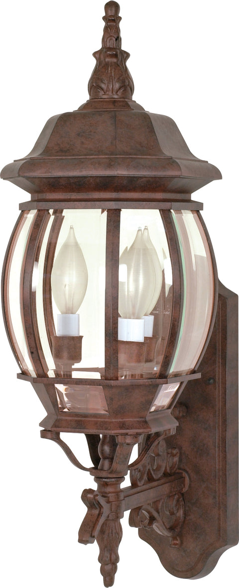 Nuvo Lighting 60/889 Central Park 3 Light 22 Inch Wall Mount Sconce Lantern with Clear Beveled Glass