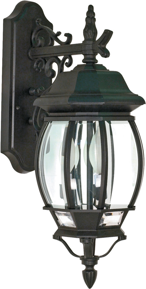 Nuvo Lighting 60/893 Central Park 3 Light 22 Inch Wall Mount Sconce Lantern with Clear Beveled Glass