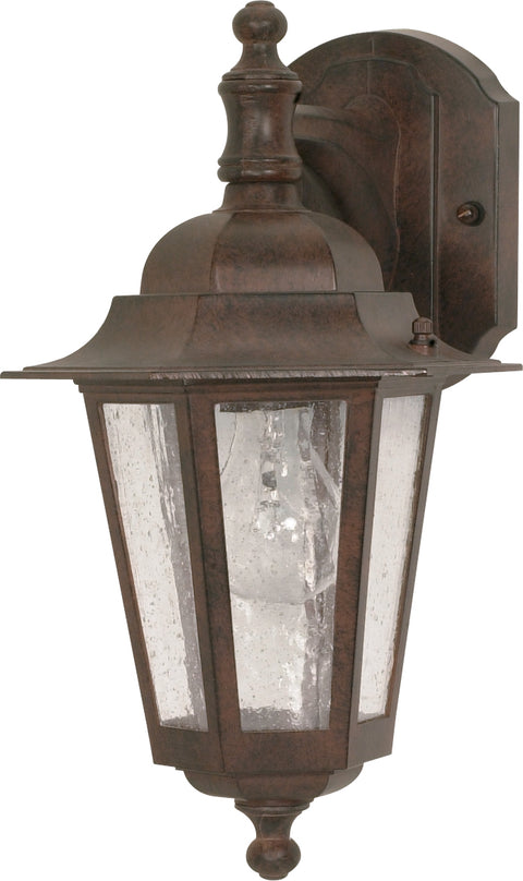 Nuvo Lighting 60/989 Cornerstone 1 Light 13 Inch Wall Mount Sconce Lantern Arm Down with Clear Seed Glass