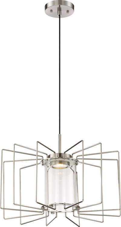 Nuvo Lighting 62/1351 Wired LED 1 Light Pendant Brushed Nickel Finish with Clear Glass