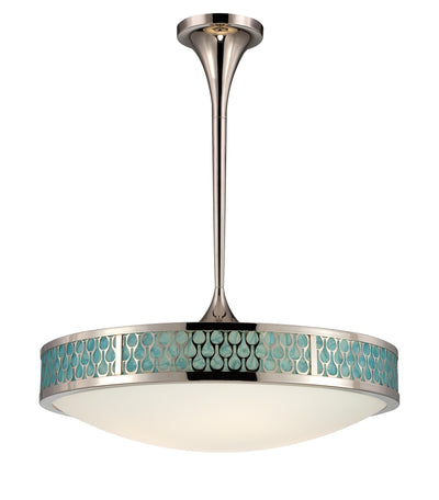 Nuvo Lighting 62/141 Raindrop Large Pendant with White Glass and removable Aquamarine insert