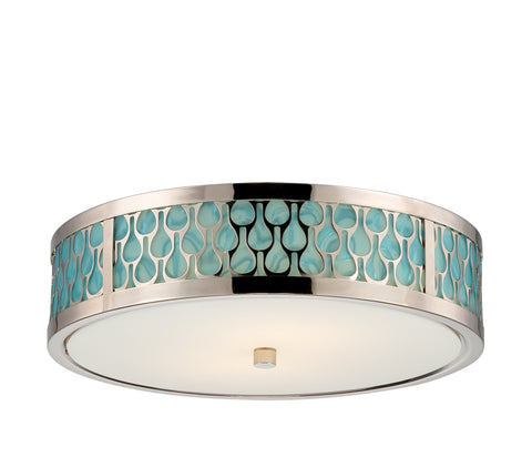 Nuvo Lighting 62/142 Raindrop Flush Dome with White Glass and removable Aquamarine insert