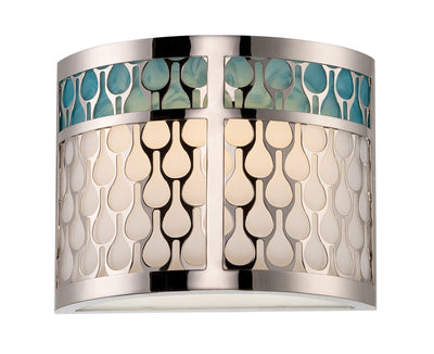 Nuvo Lighting 62/143 Raindrop 1 Module Sconce with White Glass and removable Aquamarine insert