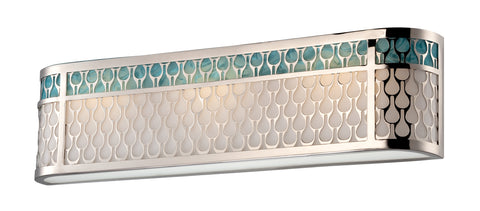 Nuvo Lighting 62/144 Raindrop 3 Module Vanity with White Glass and removable Aquamarine insert