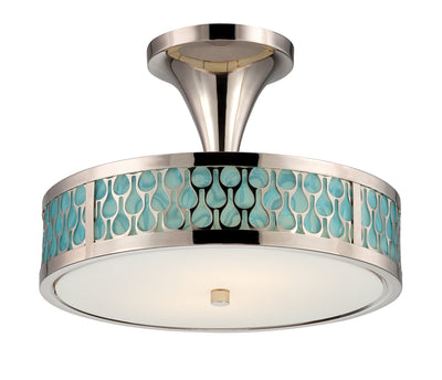 Nuvo Lighting 62/145 Raindrop 2 Module Semi Flush Dome with White Glass and removable Aquamarine insert