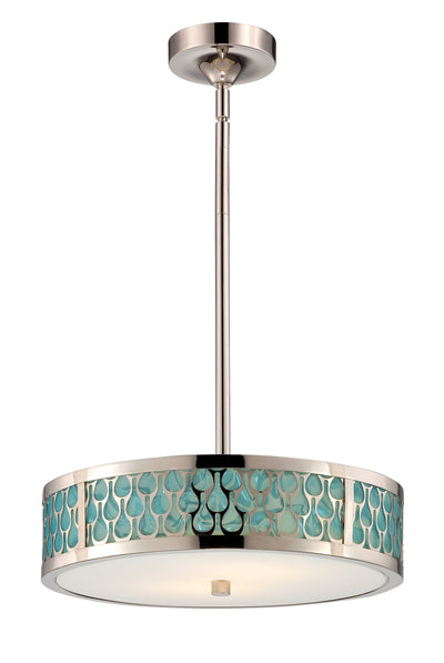 Nuvo Lighting 62/146 Raindrop 2 Module Small Pendant with White Glass and removable Aquamarine insert