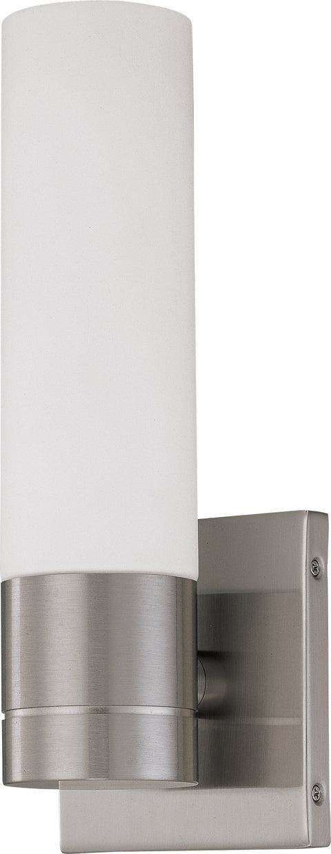Nuvo Lighting 62/2934 Link 1 Light LED Tube Wall Mount Sconce Sconce with White Glass Brushed Nickel Finish