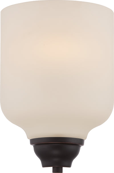 Nuvo Lighting 62/391 KIRK 1 light LED WALL SCONCE  MAHOGANY BRNZ/SATIN WHITE GLSS