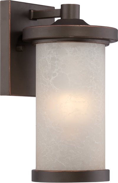 Nuvo Lighting 62/641 Diego LED Outdoor Small Wall Mount Sconce with Satin Amber Glass