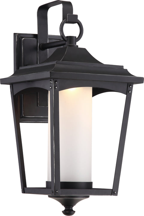 Nuvo Lighting 62/822 Essex 9.5 Inch Wall Mount Sconce Lantern Sterling Black Finish