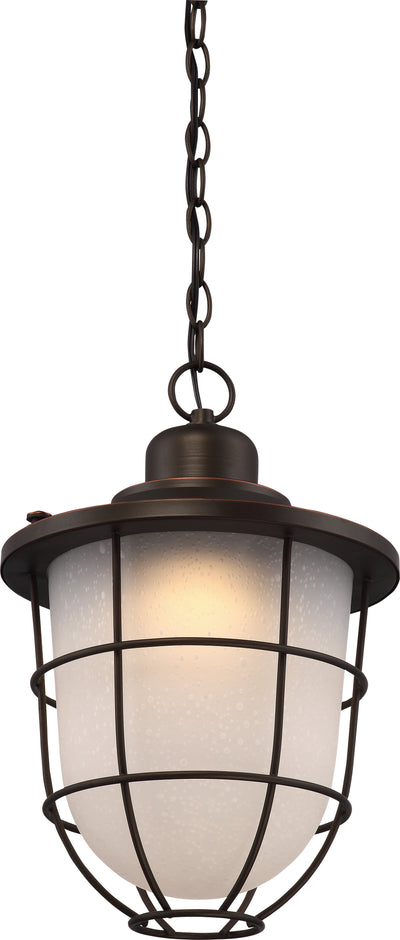 Nuvo Lighting 62/946 BUNGALOW 1light OUTDOOR HANG  MAHOGANY BRONZE/ETCH SEED GL