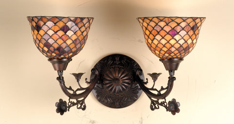 "Meyda Lighting 67383 17.5""W Tiffany Fishscale 2 LT Wall Sconce"