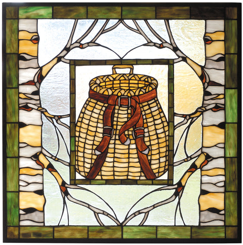 "Meyda Lighting 73909 25""W X 25""H Pack Basket Stained Glass Window"
