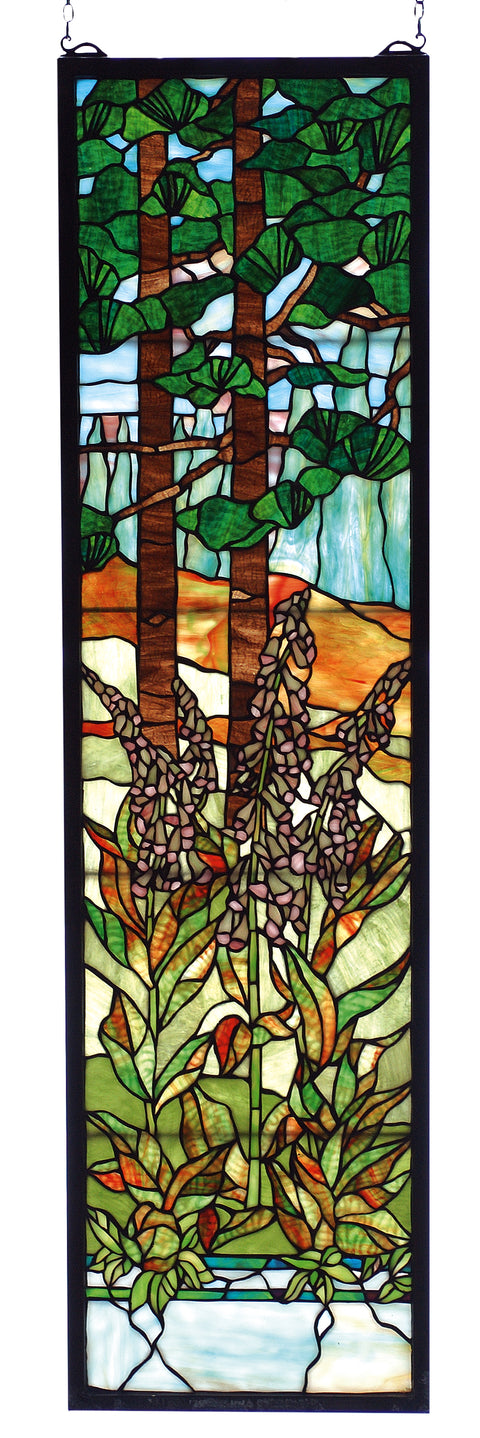 "Meyda Lighting 74037 12""W X 44""H Tiffany Foxgloves Stained Glass Window"