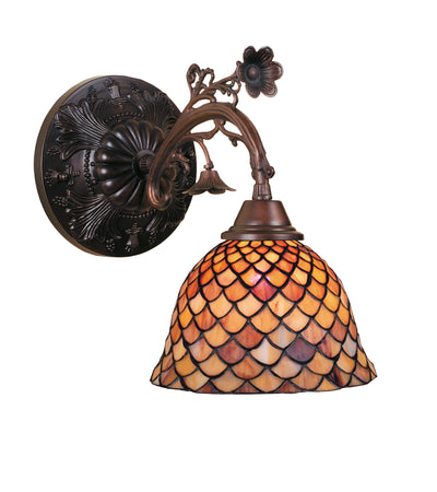 "Meyda Lighting 74044 8""W Tiffany Fishscale Wall Sconce"