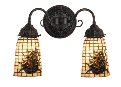 "Meyda Lighting 74048 14.5""W Pine Barons 2 LT Wall Sconce"