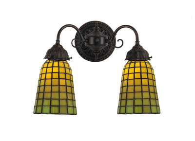 "Meyda Lighting 74056 14.5""W Geometric Green 2 LT Wall Sconce"