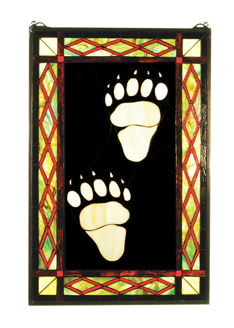 "Meyda Lighting 74143 17.5""W X 26.5""H Bear Tracks Stained Glass Window"