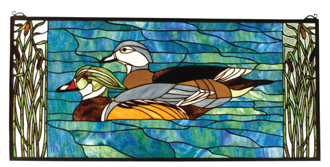 "Meyda Lighting 77712 35""W X 16""H Wood Ducks Stained Glass Window"