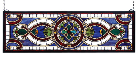 "Meyda Lighting 77907 35""W X 11""H Evelyn in Lapis Stained Glass Window"
