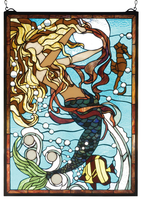 "Meyda Lighting 78086 19""W X 26""H Mermaid of the Sea Stained Glass Window"