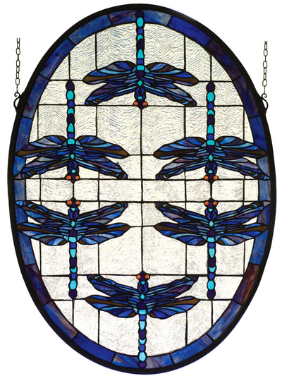 "Meyda Lighting 78087 22""W X 30""H Dragonflies Oval Stained Glass Window"
