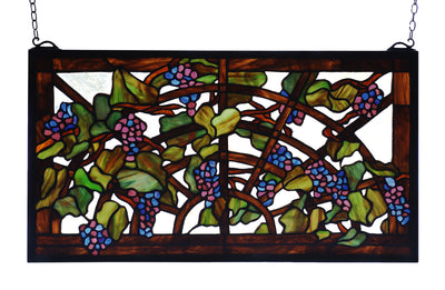 "Meyda Lighting 78088 22""W X 12""H Tiffany Grape Arbor Stained Glass Window"