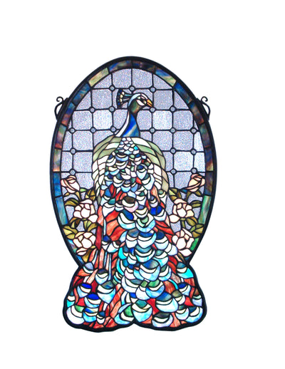 "Meyda Lighting 79806 12""W X 19""H Peacock Profile Stained Glass Window"