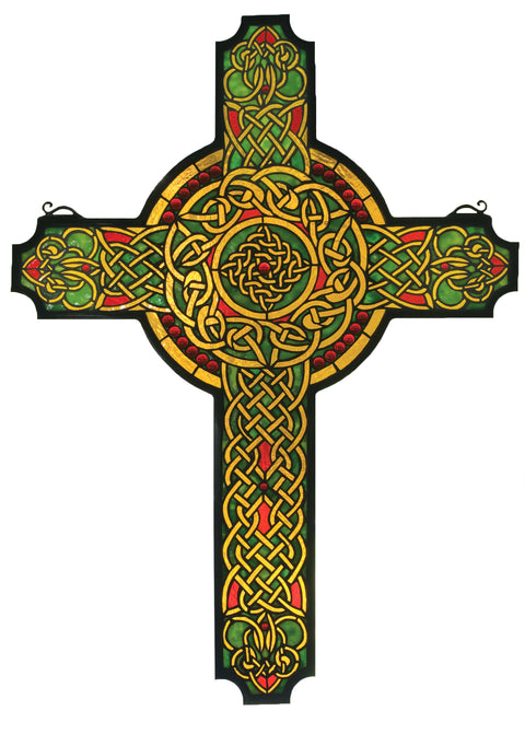 "Meyda Lighting 79986 25""W X 34""H Jeweled Celtic Cross Stained Glass Window"
