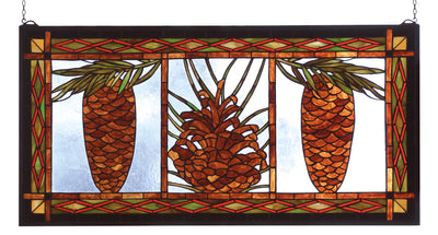 "Meyda Lighting 81470 36"" Wide X 18"" High Pinecone Stained Glass Window"