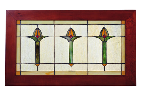 "Meyda Lighting 97961 24"" Wide X 14"" High Arts & Crafts Bud Trio Wood Frame Stained Glass Window"